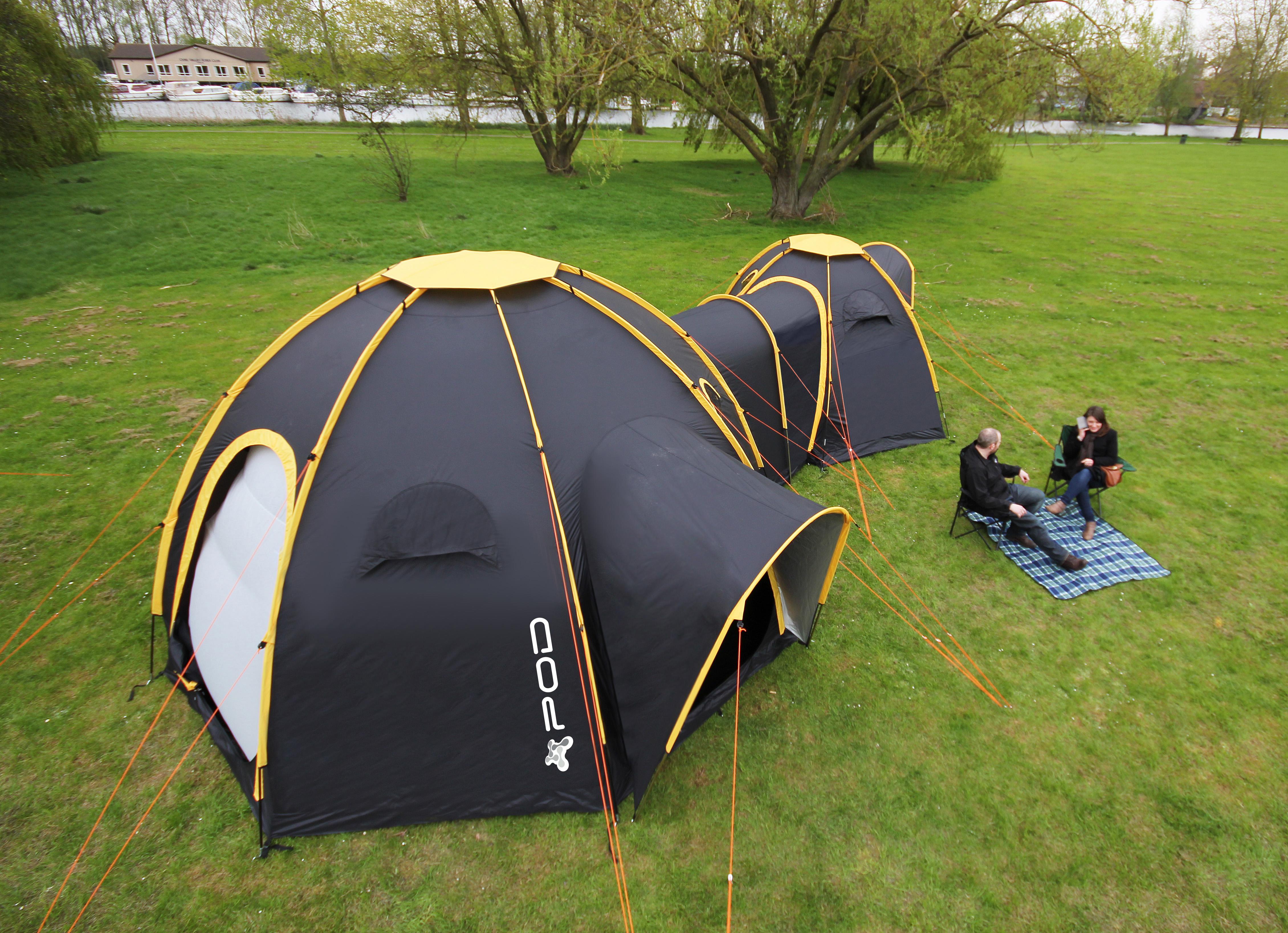 POD Maxi Connected to the POD Mini & Pod Tents Tent Pods