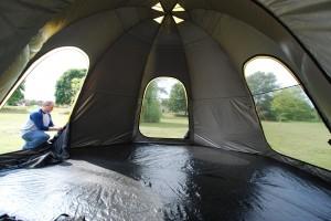 POD tent with 3 doors open.